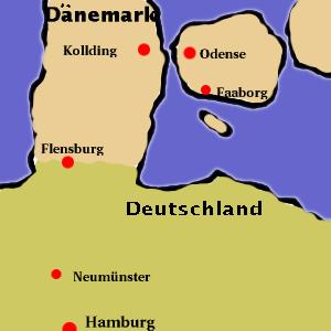 Karte von Dänemark und Deutschland